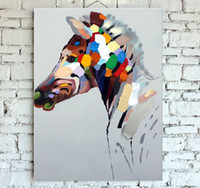 Handmade Decorated Animal Canvas Painting Beautiful Horse Pi...
