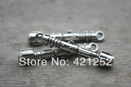 silver sonic Promo Codes - 20pcs Doctor who 3D Sonic Screw Driver 11th Sonic Screwdriver Charm Pendants Necklace silver tone