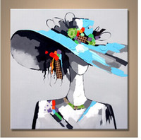 Wholesale modern girls abstract paint for sale - Group buy Handmade Modern Portrait Oil Painting on Canvas Beauty Girl Picture with Hat Art in Living Room or Bedroom