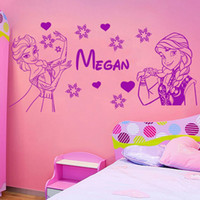 Wholesale Wall Decal Figures - Free Shipping custom-made cartoon figure Personalised ELSA AND ANA Wall Decal With Name Wall Decal Vinyl Stickers
