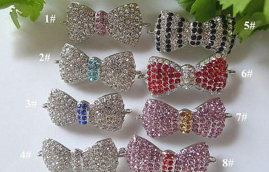 Silver plated with Multicolor Crystal Rhinestone Bow Tie Connector Charm Beads /Charms /Pendant For DIY Bracelets Necklaces in Mixed Color