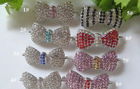 Wholesale Rhinestone Bow Tie Charms - Silver plated with Multicolor Crystal Rhinestone Bow Tie Connector Charm Beads  Charms  Pendant For DIY Bracelets Necklaces in Mixed Color