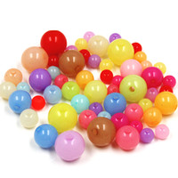 Wholesale Chunky Beads 8mm - 300g lot Mixed Candy Colors Acrylic 6mm 8mm 10mm 12mm U-Pick Size Round Smooth Ball Opal Chunky Spacer Loose Beads Jewelry DIY Accessories