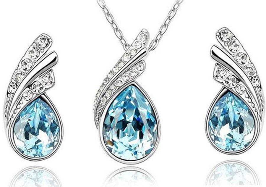 79c5e9df8e31 Set de joyas de cristal austriaco de 10 piezas en plata de ley 925 Conjunto  de joyas de P con collar de diamantes y un par de pendientes de cristal de  ...