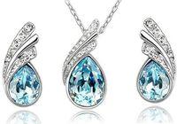 collier en argent swarovski achat en gros de-10 ensembles de bijoux en cristal autrichien ensemble en argent sterling 925 P ensemble de bijoux avec un collier de diamants et une paire de boucles d'oreilles en cristal Swarovski