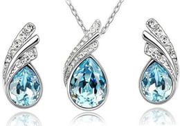 Wholesale Swarovski Crystal Sterling - 10sets austrian crystal jewelry set 925 sterling silver P jewelry set with diamonds necklace and a pair of earrings Swarovski Crystal