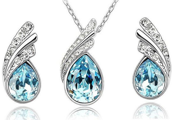 top popular 10sets austrian crystal jewelry set 925 sterling silver P jewelry set with diamonds necklace and a pair of earrings Swarovski Crystal 2019