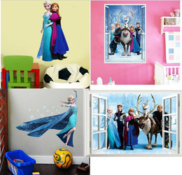 Wholesale Wholesale Vinyl Wall Decals - Mixed Order Frozen Movie Cartoon Wall Stickers Kids Room Nursery Wall Decals(4 styles)