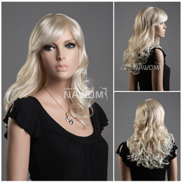 Wholesale Blonde Synthetic Weave - white blond hair wigs for women wig weaves shops medium long wigs Synthetic fiber of 100% Kanekalon 1pc Lot Free Shipping 0729ZL07W-LG26