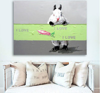 Wholesale baby room paint decor for sale - Group buy Handmade Lovely Rabbit Picture Canvas Printing Decor Animal Oil Painting on Wall in Baby Room or Living Room