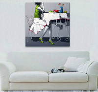 Wholesale dining room art paintings for sale - Group buy Hand Painted Decor Canvas Painting for Home Wall Decoration Square Size Picture Art in Living Room or Bedroom or Dining Room No Frame