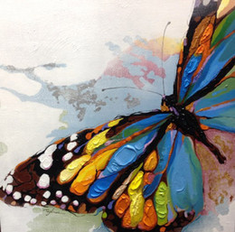 Wholesale Home Decoration Canvas Painting - 10% Discount Hand Painted Top Grade Abstract Animal Oil Painting on Canvas Beautiful Butterfly Art for Home Decoration or Gifts 1Panel
