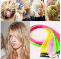 Wholesale Clip Wigs Hairpieces - Wholesale - 10 lots Colorful hairpiece with mini clip 50CM long women DIY hair wear hair accessories wig hairpiece