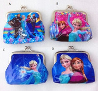 Wholesale Cartoon Baby Girls Bag - New fashion 10pcs lot baby girls Frozen Coin Purses kids Snow Queen wallet chilldren princess Elsa Anna money bag,party supplies