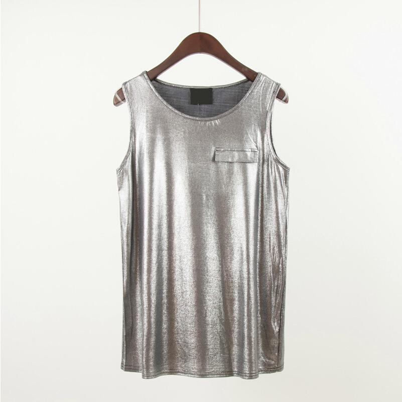 2b330358cadd01 2019 Punk Sequin Shinny Silver Tank Top Crop Vest Metallic Foil Print  Blusas Femininas Regatas Seda 2014 Women Ladies Female New From Allmaker01