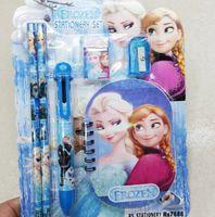 Wholesale Princess Erasers - EMS Frozen stationery set Princess Elsa Anna Stationery Pencil Eraser Sharpener Notebook Writing Set Cartoon