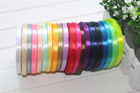 Wholesale Ribbon 6mm - 1 4 inch 6mm satin ribbon pure color 25yards roll 20rolls lot 500yards total Free shipping