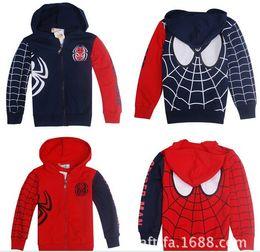 Wholesale Spiderman Jackets - 2014 best-selling children's Spiderman style long-sleeved jacket zipper hoodie boy