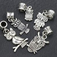 Wholesale Owl Metals - 7styles Assorted Bird Owl Dangle 105pcs lot Antique Silver Big Hole Beads Fit European Charm Bracelet B1563 B993