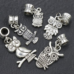 7 estilos Assorted Pássaro Coruja Dangle 105 pçs / lote Antique Silver Big Hole Beads Fit Charme Europeu Pulseira B1563 B993