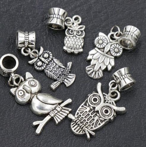 top popular 7styles Assorted Bird Owl Dangle 105pcs lot Antique Silver Big Hole Beads Fit European Charm Bracelet B1563 B993 2020
