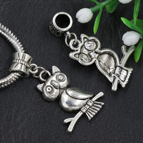 7 estilos Surtido buho de pájaro cuelgan / Granos antiguos de plata del agujero Fit pulsera europea del encanto B1563 B993
