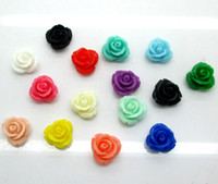 Wholesale Rose Cabochon Resin - New Free Shipping 100 Random Mixed Resin Rose Flower Hole Flatback Cabochon Scrapbooking