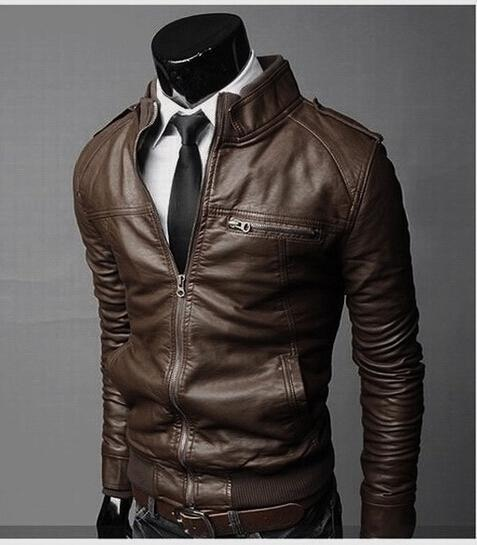 5eef9d6097e2 ... Hot Sale Men's Jacket Men's PU Leather Jacket Fashion Transverse Slim  Fit Leather Jackets For Men