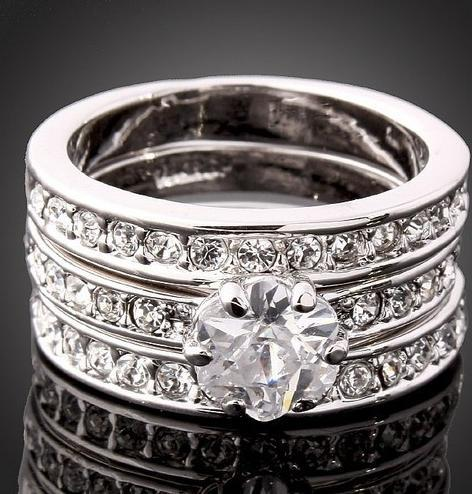 2018 3 In 1 Swarovski Crystal Cz 18k White Gold Gp Engagement Wedding Band Ring From Ywyscarf 1207