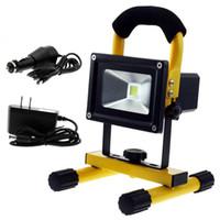 luzes led 12v para camping venda por atacado-Portátil 10 W LED Trabalho Flood Luzes de Acampamento Bateria Recarregável Ao Ar Livre À Prova D 'Água Branca Quente 110 V 220 V 12 V