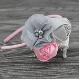 Wholesale Satin Green Hair Bow - MOQ 1pcs Sweet satin rose flower hairband chiffon flower with pearl Rhinestone hair accessory Baby girl headband