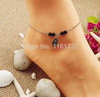 Wholesale Wholesale Ops Bracelets - Wholesale-OP-2014 New Arrival Vintage Hamsa Fatima Hand Charming Anklet Glass Bead Barefoot Sandals Bead Bracelet Chain Jewelry
