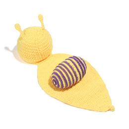 Newborn Animals Canada - Free Shipping Crochet Baby Newborn Snail Hat and cover Handmade Photography Props Baby Animal Beanie