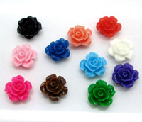 Wholesale Rose Cabochon Mix - NEW Free Shipping 100 Random Mixed Resin Rose Flower Hole Flatback Cabochon Scrapbooking 13x13mm