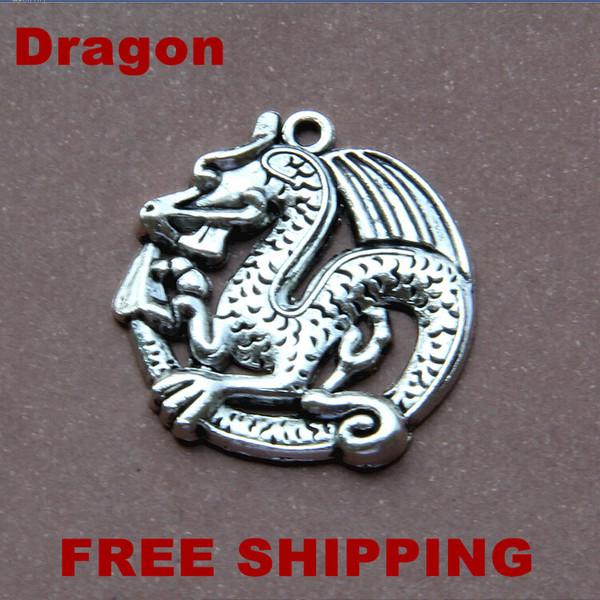 Envío gratis 50 unids venta al por mayor encantos de la vendimia de la aleación de bronce antiguo, plata tibetana 30 * 32 MM Dragon XBL4003