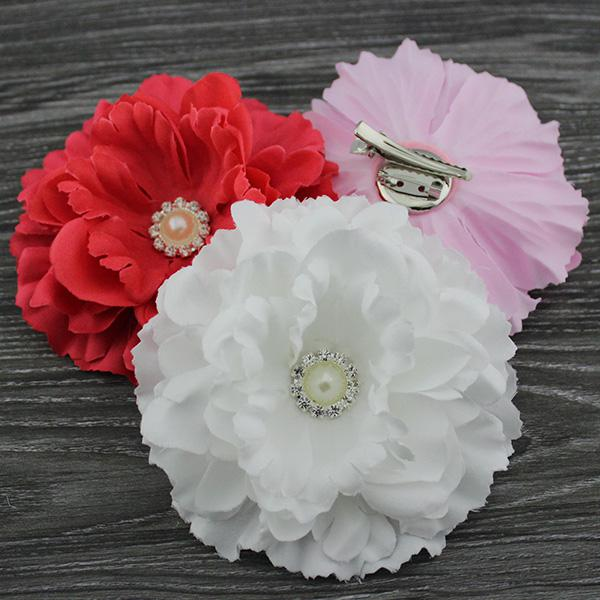 """4.3"""" mix color fabric peony flower hair clip & Brooch with pearl Button Baby girl hair accessories Hair bows"""