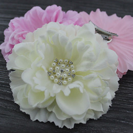"Wholesale Rhinestone Floral Bling Wholesale - 4.3"" Peony flower with Bling Rhinestone pearl hair clip & Brooch layered Gorgeous flower hair Accessories hair bows 24pcs lot"