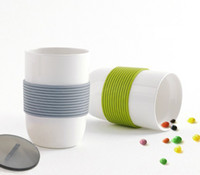 Wholesale Coffee Mug Sleeve - Creative Ceramic Mug with Silicone Belt Sleeve Plastic Lid 350ml Anti Slipping Porcelain Coffee Cup Water Tumbler for Home Office