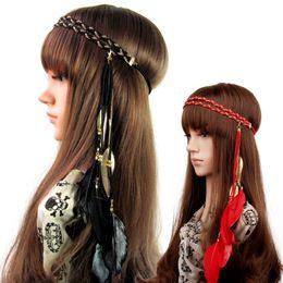 Wholesale Headbands Korea - Europe and the United States double South Korea velvet chain weaving hair band Color leaf pendant feather hair hoop headband
