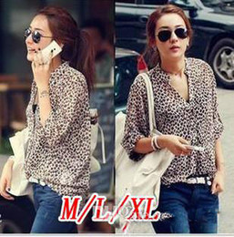 Wholesale Leopard Silk Chiffon Shirt - Ladies Leopard shirts Blouses Print Button Down Women's Chiffon Tops