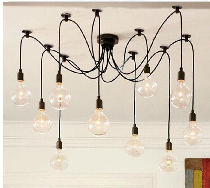 Discount Retro Classic Chandelier E27 Spider Lamp Pendant Bulb Holder Group Edison Diy Lighting Lamps Lanterns Accessories Messenger Wire Industrial