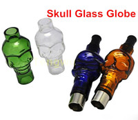 Wholesale Skull Clearomizer - E Cigarette Glass Globe Skull Clearomizer with Ceramic Coils and Black Drip Tips Replacement Coil Cores Skull Atomizer Tank eGo 510 Thread