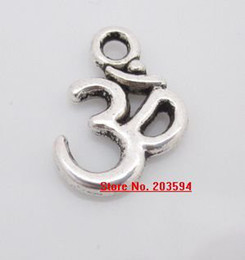 Wholesale Handcraft Beads - G568 Wholeasale antique silver OM 3D Sign Shape Charms Pendants Bead METAL Pandent Fit DIY Handcraft 15.5x10.5mm