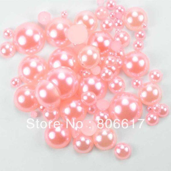 Free Shipping 1000 Random Mixed Size LightPink Half Round Flatback Pearl Beads Nail Art DIY Phone Decoration(W02747 X 1)