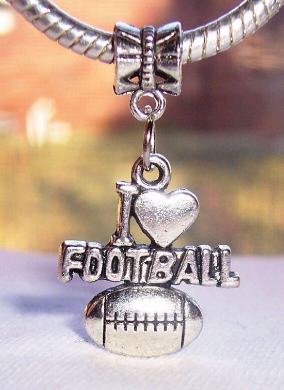 Heiß ! oder Antik Silber I Herz Fußball Sport Liebe baumeln Perlen passen europäischen Charme Armband 32,5 x 18,5 mm 228