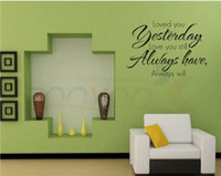 Wholesale Wall Sticker Yesterday - Loved You Yesterday creative quote wall decals ZooYoo8065 decorative wall decor removable vinyl wall stickers home decoration