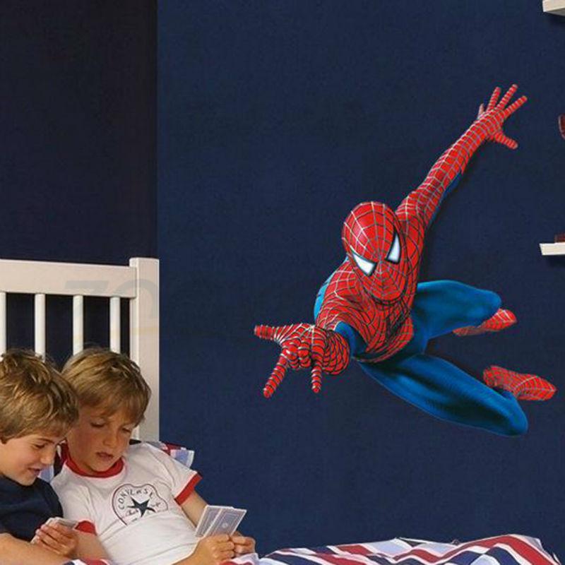 صبي جدا لديها حلم يكون سبايدرمان ملصقات الحائط للأطفال غرفة zooyoo1937 ديكور جدار ديكور للإزالة pvc جدار الشارات diy