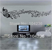 diy música arte de la pared decoración al por mayor-Mariposa nota de la música Wall Art Vinyl Quote Extraíble Sticker decoración calcomanía DIY Kid ZY8121s