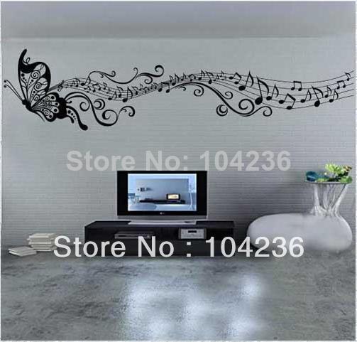 Kelebek müzik notu Wall Art Vinil Alıntı Çıkarılabilir Sticker dekor çıkartması DIY Çocuk ZY8121s