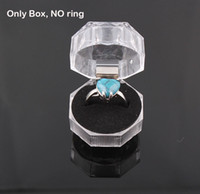 Wholesale Transparent Crystal Box Jewelry Acrylic - Acrylic Crystal Clear Ring Box Transparent Earrings Jewelry Box Case Gift Boxes Jewelry Packaging ZBX04